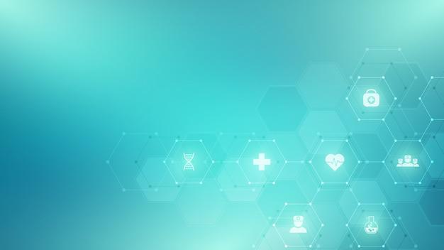 Abstracte medische achtergrond met vlakke pictogrammen en symbolen