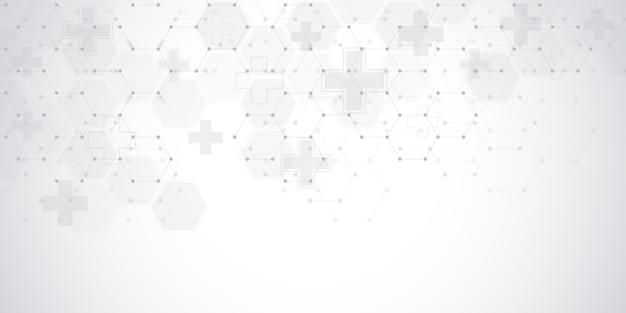 Abstracte medische achtergrond met zeshoeken. concepten en ideeën voor zorgtechnologie, innovatiegeneeskunde, gezondheid, wetenschap en onderzoek.