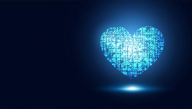 Abstracte medische gezondheidszorg blauw hart virtuele sc.i fi