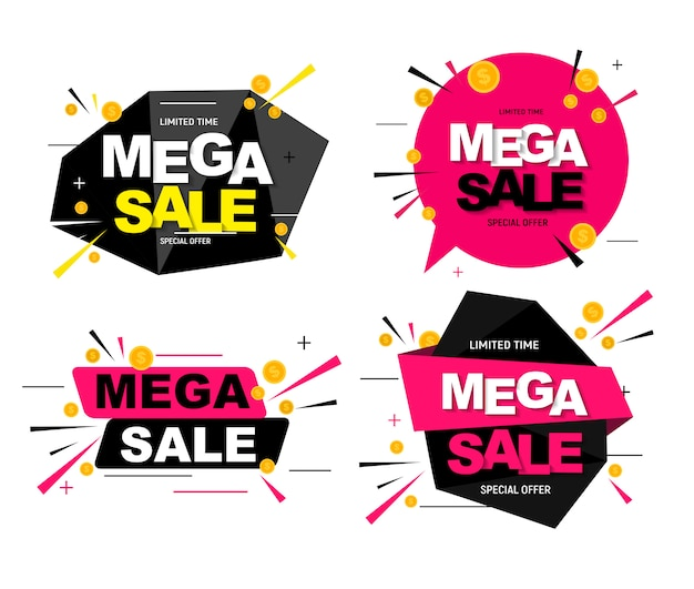 Abstracte mega verkoop poster collectie set. illustratie