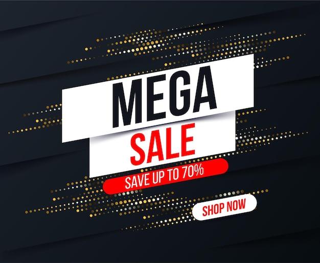 Abstracte mega-verkoopbanner met gouden halftoon glittereffect voor speciale aanbiedingen