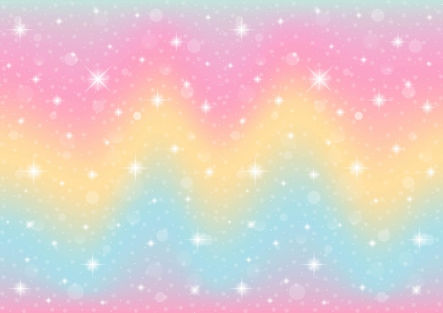 Abstracte melkweg fantasie eenhoorn. pastel hemel met bokeh. regenboog achtergrond.