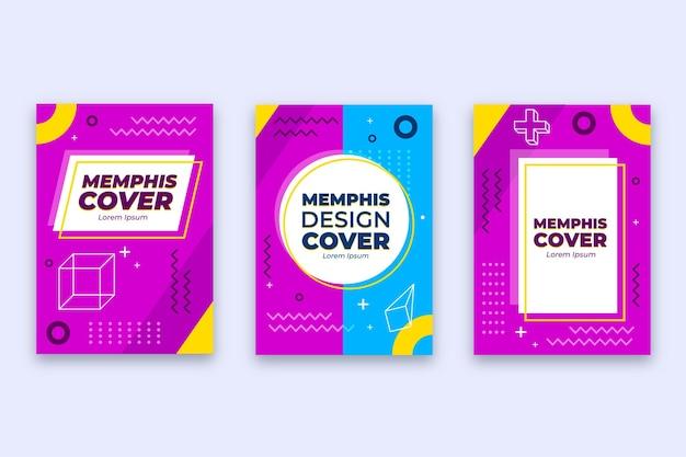 Abstracte memphis-ontwerpomslagcollectie