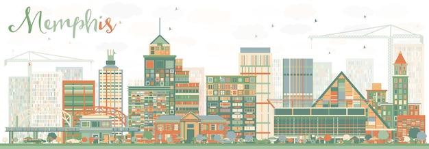 Abstracte memphis skyline met kleur gebouwen. vectorillustratie. zakelijk reizen en toerisme concept met historische architectuur. afbeelding voor presentatiebanner plakkaat en website.