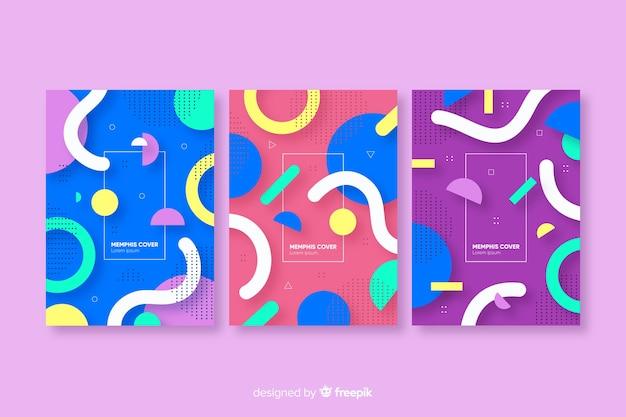 Abstracte memphis stijl cover collectie
