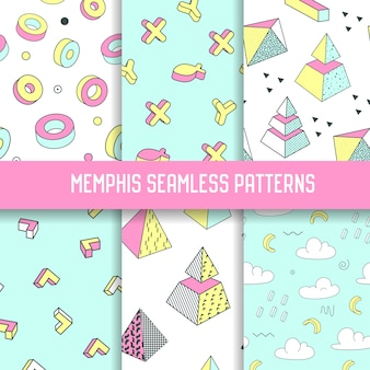 Abstracte memphis stijl naadloze patroon ingesteld