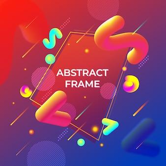 Abstracte memphis stijl vloeibare 3d vormen achtergrond