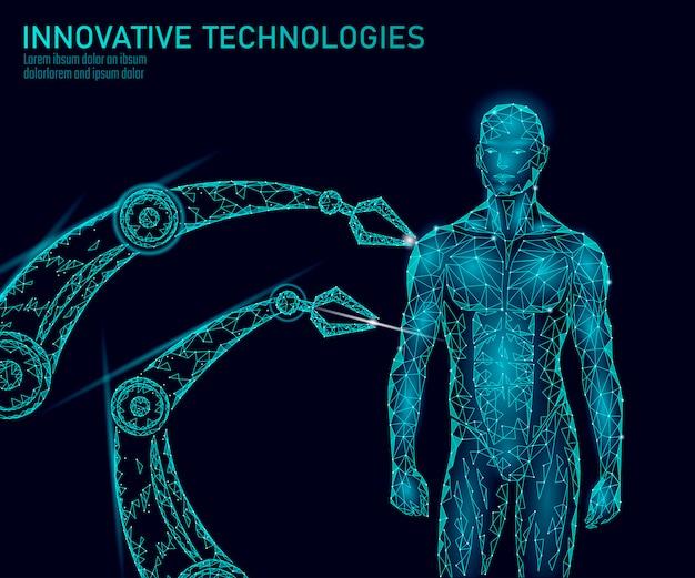 Abstracte menselijk lichaam anatomie. dna engineering wetenschap innovatie technologie. genoom gezondheid onderzoek gentherapie geneeskunde laag poly 3d render veelhoekige geometrische virtual reality vectorillustratie