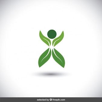 Abstracte menselijke gemaakt met bladeren logo