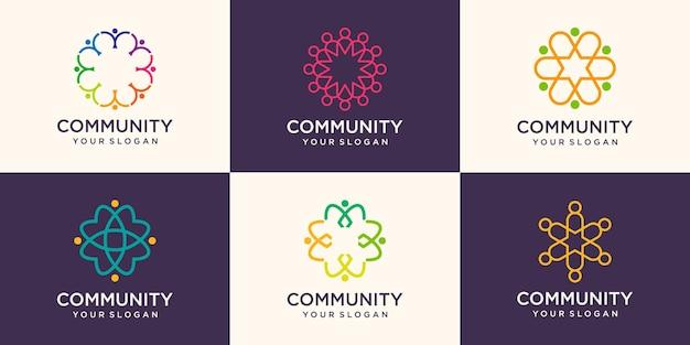 Abstracte mensen gemeenschap logo ontwerpsjabloon