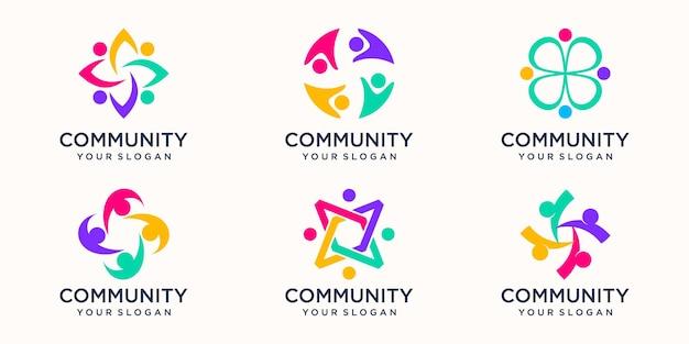 Abstracte mensen groep vector logo ontwerp.