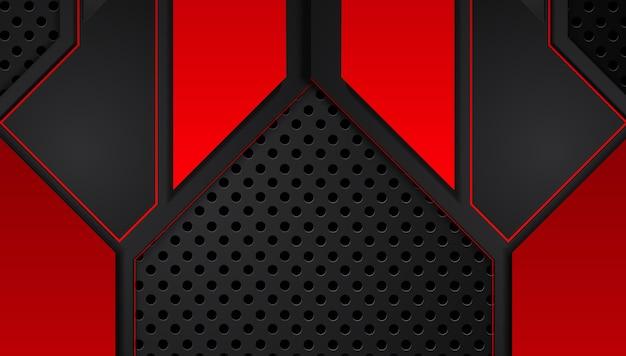 Abstracte metaal rode zwarte achtergrond met contraststrepen. abstract vector grafisch technologie-innovatieconcept