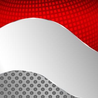 Abstracte metalen achtergrond met rood element. vector illustratie.