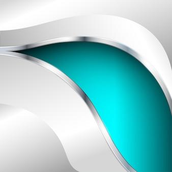 Abstracte metalen achtergrond met turquoise element. vector illustratie.