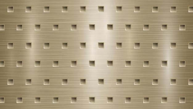 Abstracte metalen achtergrond met vierkante gaten in licht gouden kleuren