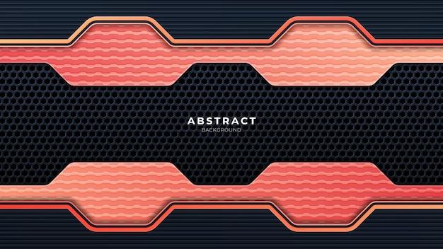 Abstracte metalen geperforeerde technische achtergrond met oranje lijnen. zwart frame lay-out moderne tech ontwerpsjabloon. trendy gradiënt vormen samenstelling. eps-10 vector