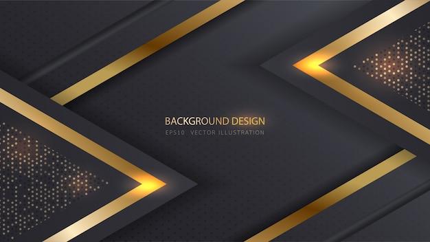 Abstracte metalen verlichting goud zwarte achtergrond.