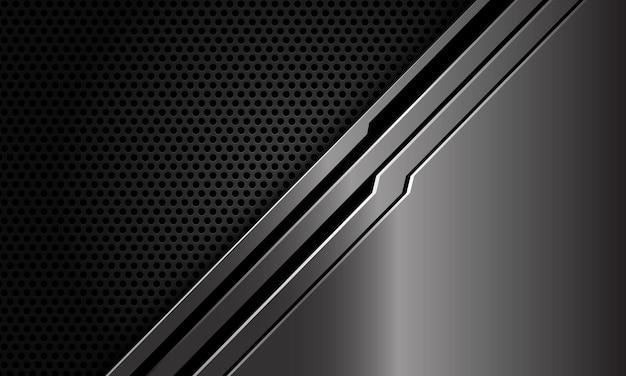 Abstracte metalen zwarte lijn circuit schuine streep op donkere cirkel mesh moderne luxe futuristische technische achtergrond