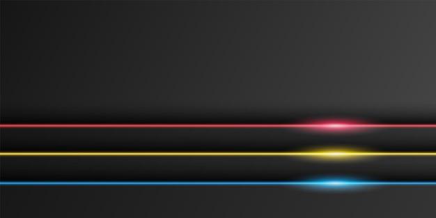 Abstracte metallic zwarte frame achtergrond overlap laag met neon licht lijn donker minimaal ontwerp