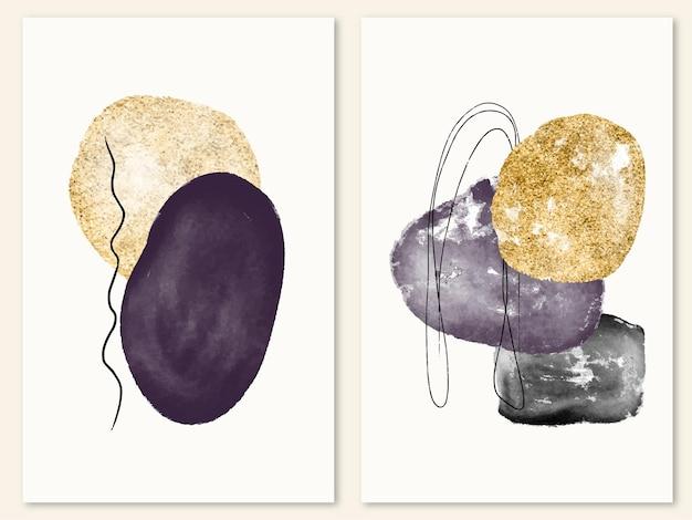 Abstracte minimale aquarel en gouden vormen voor posteromslagkunst aan de muur