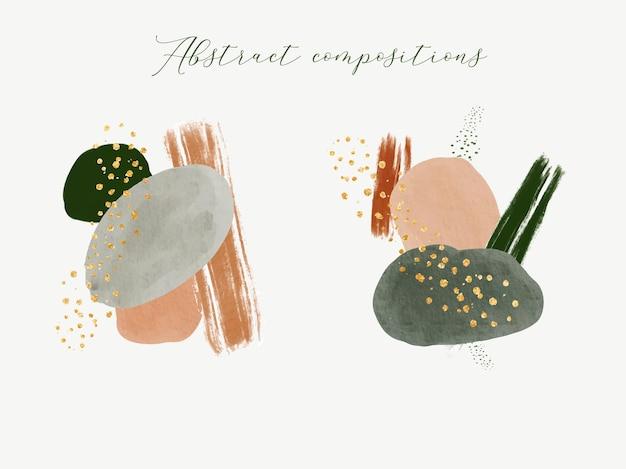 Abstracte minimale composities met aquarelvorm en gouden stippen