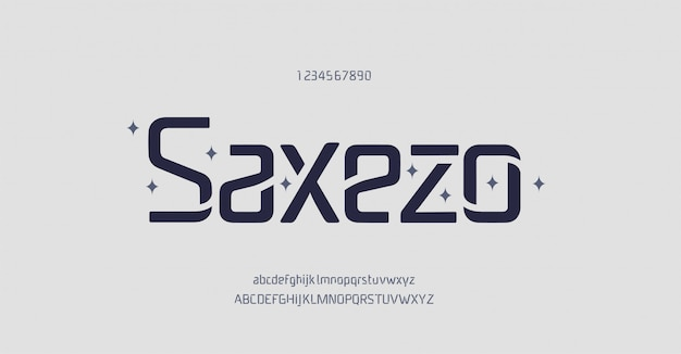 Abstracte minimale en unieke moderne alfabetlettertypen. typografie technologie elektronische digitale muziek toekomst creatief lettertype.