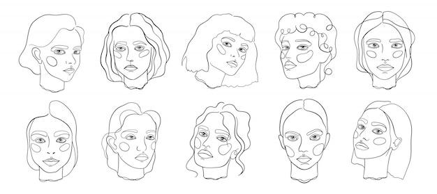 Abstracte minimale gezicht lijn kunst set
