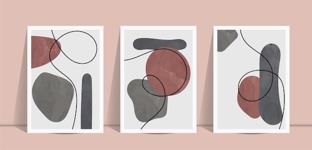Abstracte minimale kunstcollectie aan de muur.