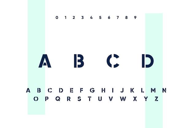 Abstracte minimale letters van het alfabet