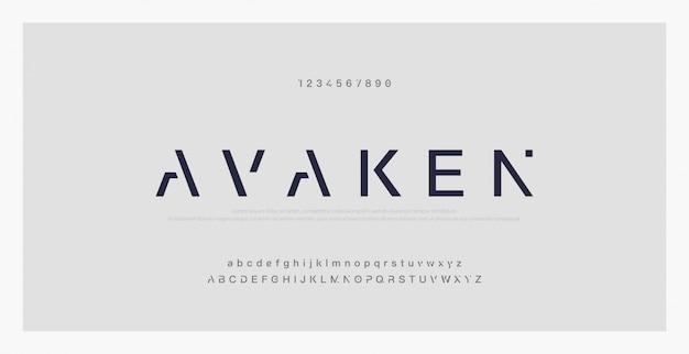 Abstracte minimale moderne alfabetlettertypen. typografie