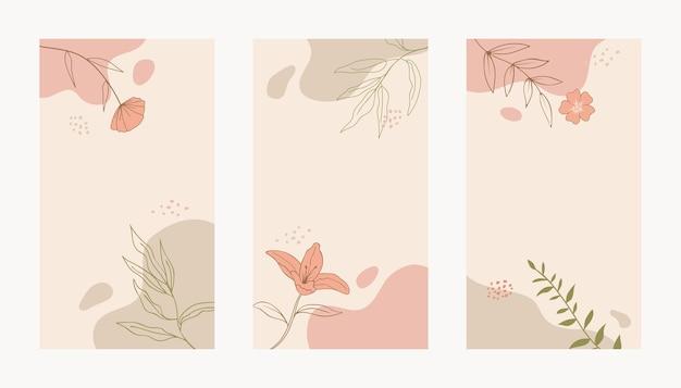 Abstracte minimale organische bloemenmalplaatjeachtergrond