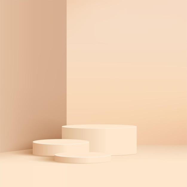 Abstracte minimale scène met cilinderpodia.