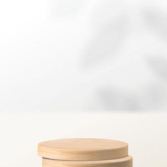 Abstracte minimale scène met geometrische vormen. cilinder houten podium op witte achtergrond met bladeren. productpresentatie, mock up, show cosmetisch product, podium, podiumvoet of platform. 3d