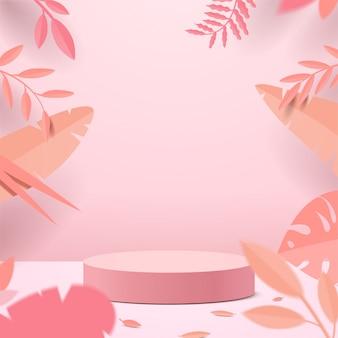 Abstracte minimale scène met geometrische vormen. cilinder podium display of showcase mockup voor product in roze achtergrond met papieren bladeren.