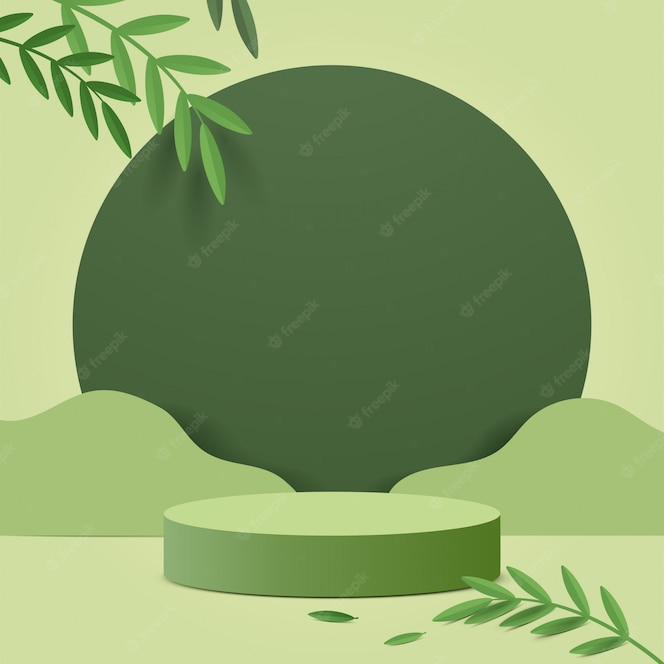 Abstracte minimale scène met geometrische vormen. cilinder podium in de natuur groene achtergrond met groene plant verlaat.