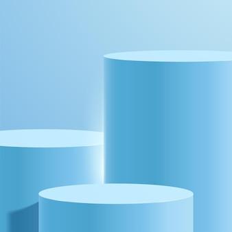 Abstracte minimale scène met geometrische vormen. cilinderpodium op blauwe achtergrond met bladeren.