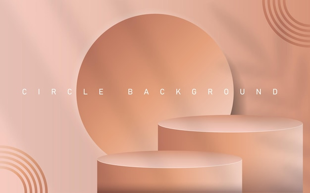 Abstracte minimale scène met geometrische vormen. cilinderpodium op roze achtergrond met de bladeren van de schaduwinstallatie. productpresentatie, mockup, showproduct, podium, podiumsokkel of platform. 3d-vector