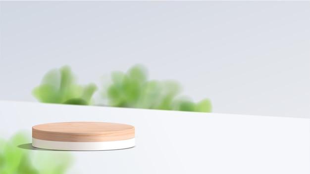 Abstracte minimale scène met geometrische vormen. wit podium met bladeren. productpresentatie, show cosmetische productvertoning, podium, podiumsokkel of platform.