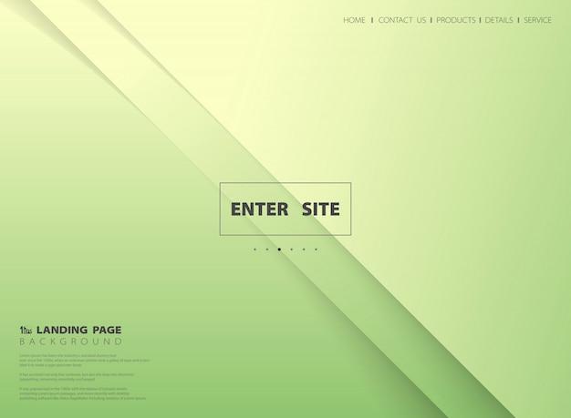 Abstracte minimale vector van de gradiënt groene gele landende pagina vectorachtergrond.