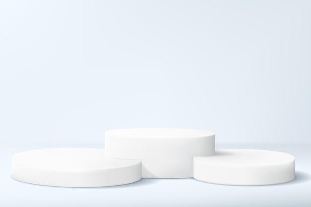 Abstracte minimalistische achtergrond met een reeks cilinders in lichte kleuren. lege sokkels voor het uitstallen van een productcollectie of voor een award.