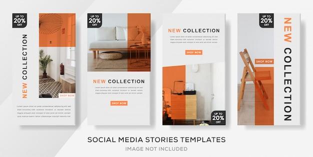 Abstracte minimalistische banner sjabloon verhalen post voor interieur. premium banner; indeling; sjabloon;