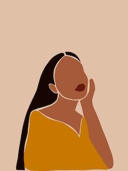 Abstracte minimalistische boho vrouw poster voor sociale media poster kaart behang kunst aan de muur