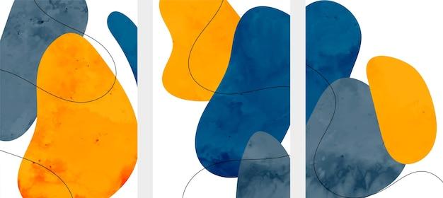 Abstracte minimalistische flyers in vloeiende aquarelstijl
