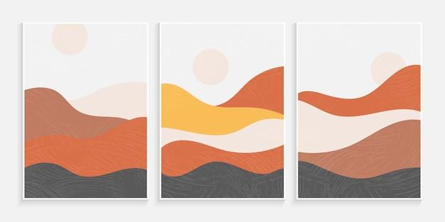 Abstracte minimalistische hedendaagse esthetische achtergronden van landschappen