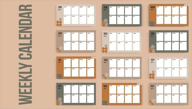 Abstracte minimalistische wekelijkse marketingkalender