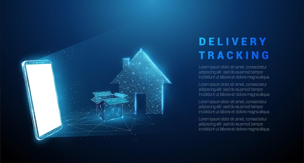 Abstracte mobiele telefoon met open doos en huis. levering tracking concept. laag poly stijl ontwerp geometrische achtergrond wireframe lichte verbindingsstructuur modern geïsoleerd