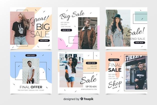Abstracte mode verkoop instagram post collectie