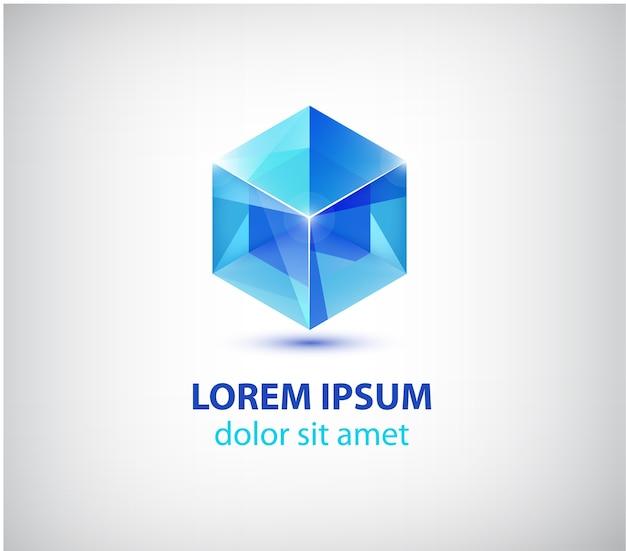 Abstracte moderne 3d kubus constructie logo geïsoleerd