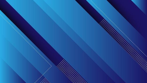 Abstracte moderne achtergrond met diagonale lijnen en memphis-element en blauwe levendige kleurverloop