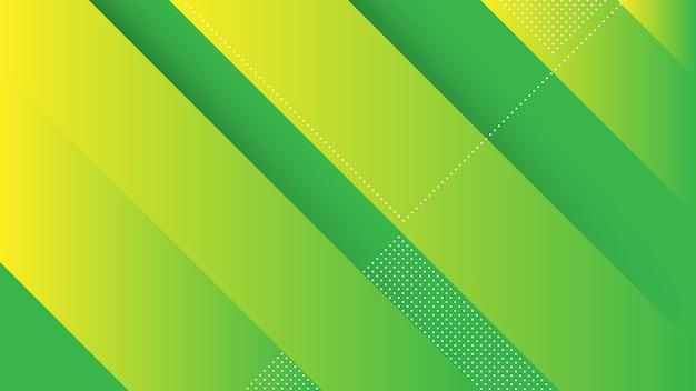 Abstracte moderne achtergrond met diagonale lijnen en memphis element en groen geel levendige kleurovergang